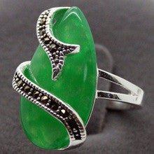 00622 Emerald Green Jade Marcasite Ring