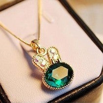 $10 (mix order) Free Shipping New Fashion Cute Beautiful Rabbit Crystal Necklace Chain (Green) N196 Jewelry 7g