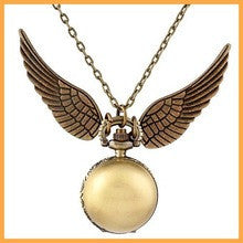 100pcs/sets 2016 new Harry Potter Golden Snitch fashion Pocket Watch Steampunk Quidditch Wings quartz necklace Watch free DHL