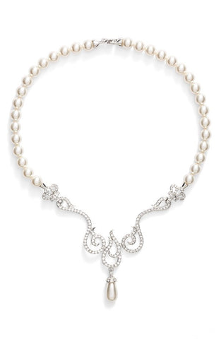 'Romantic' Swarovski Crystal & Faux Pearl Forntal Necklace