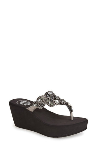 Yellowbox 'Katelyn' Crystal Embellished Wedge Sandal (Women)