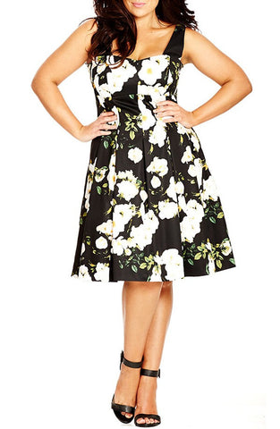 'Senorita' Floral Print Fit & Flare Dress (Plus Size) - Brides & Bridesmaids - Wedding, Bridal, Prom, Formal Gown