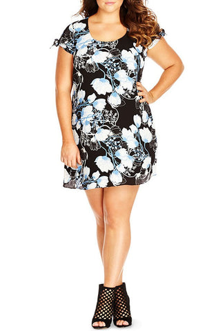 'Floral Sketch' Print Crepe Dress (Plus Size) - Brides & Bridesmaids - Wedding, Bridal, Prom, Formal Gown