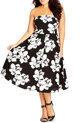 'Rose' Floral Print Strapless Midi Dress (Plus Size) - Brides & Bridesmaids - Wedding, Bridal, Prom, Formal Gown