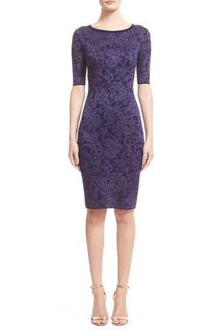 'Zilia' Floral Jacquard Knit Sheath Dress - Brides & Bridesmaids - Wedding, Bridal, Prom, Formal Gown