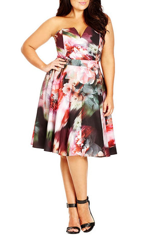 'Poppy Fun' Print Strapless Notch Neck Dress (Plus Size) - Brides & Bridesmaids - Wedding, Bridal, Prom, Formal Gown