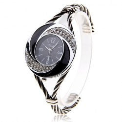able Daudy Black Dial Bracelet Wrist Watch with Rhinestone Decoration and 4 Arabic Numerals Hour Marks 275 (Black & White)