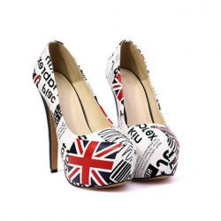 Party Women's Pumps With High Heel Letters Print Design