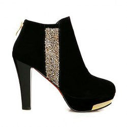 Fashion Sequins and Chunky Heel Design Women's Ankle Boots