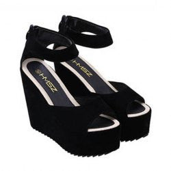 Elegant Solid Color and Zip Design Women's Wedge Sandals
