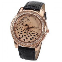 CLEARANCE A628 Quartz Watch with 12 Small Diamond Dots Indicate Leather Watch Band Leopard Pattern Dial for Women - Black