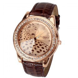 CLEARANCE A628 Quartz Watch with 12 Small Diamond Dots Indicate Leather Watch Band Leopard Pattern Dial for Women - Brown