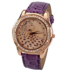 CLEARANCE A628 Quartz Watch with 12 Small Diamond Dots Indicate Leather Watch Band Leopard Pattern Dial for Women - Purple