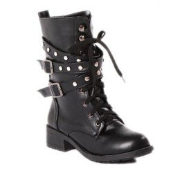 Cool Lace-Up and Flat Heel Design Women's Black Boots