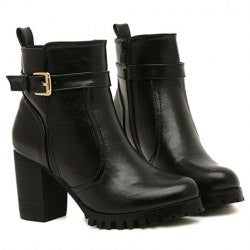 Stylish Buckle and PU Leather Design Women's Short Boots