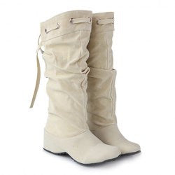 Korean Style Lace-Up and Suede Design Women's Mid-Calf Boots