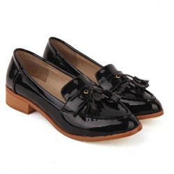 British Style Fringe and Patent Leather Design Women's Flat Shoes