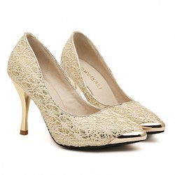 Fashion Metal Toe and Lace Design Women's Pumps