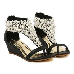 Sweet Faux Pearls and Zipper Design Women's Wedge Sandals