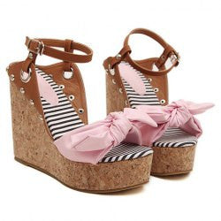 Sweet Bow and Rivets Design Women's Sandals
