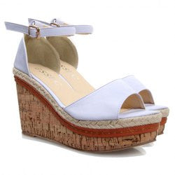 Elegant Solid Color and Wedge Heel Design Women's Sandals