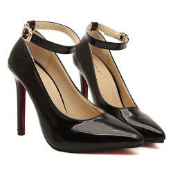 Office Women's Pumps With Patent Leather and Belt Design