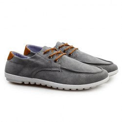 British Style Men's Canvas Shoes With Solid Color and Flat Design