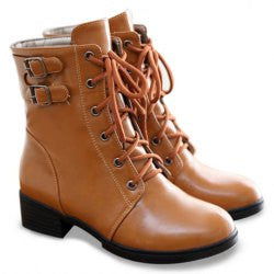 Preppy Style Buckle and PU Leather Design Women's Short Boots