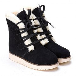 Preppy Lace-Up and Fur Design Women's Suede Short Boots