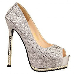 Stunning Sexy High Heel and Rhinestones Design Women's Peep Toed Shoes
