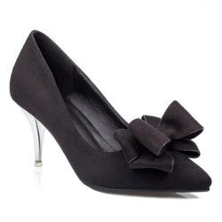 Graceful Bowknot and Suede Design Pointed Toe Women's Pumps