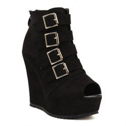 Trendy Buckles and Suede Design Women's Peep Toed Shoes
