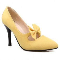 Trendy Women's Suede Pumps With Bowknot and Pointed Toe Design