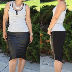Casual U-Neck Tank Top + Black PU Leather Splicing Slit Skirt Women's Twinset