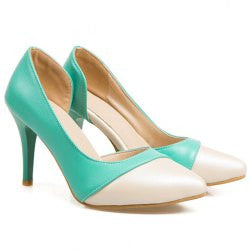 Gorgeous Color Block and PU Leather Design Women's Pumps