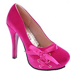 Trendy Round Toe and Bowknot Design Women's Pumps