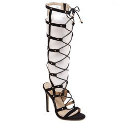 Stylish Hollow Out and Lace-Up Design Women's Knee-High Boots