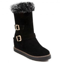 Sweet Suede and Double Buckle Design Women's Boots