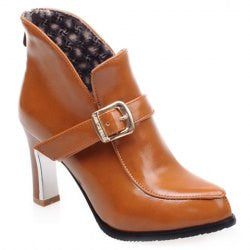 Trendy Buckle and Solid Colour Design Women's Ankle Boots