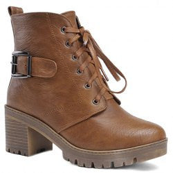 able Lace-Up and Solid Color Design Women's Combat Boots