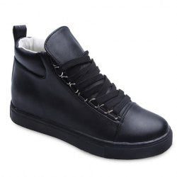 Laconic Lace-Up and Platform Design Women's Athletic Shoes