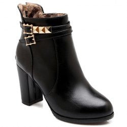Pretty Rivets and Buckles Design Women's Short Boots