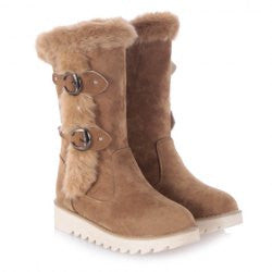 Stylish Faux Fur and Buckles Design Women's Mid-Calf Boots