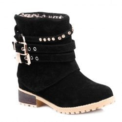 Preppy Buckle Straps and Rivets Design Women's Short Boots