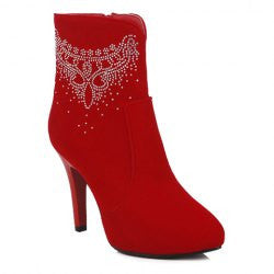 Sexy Rhinestones and Flock Design Women's Short Boots