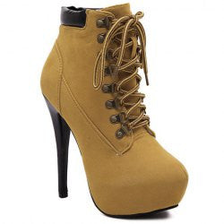 Party Suede and Criss-Cross Design Women's High Heel Boots