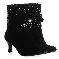 Ladylike Bow and Rhinestones Design Women's Short Boots