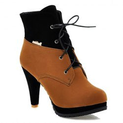 Elegant Color Block and Lace-Up Design Women's Short Boots