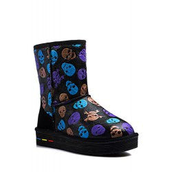 Stylish Skull Print and Platform Design Women's Snow Boots