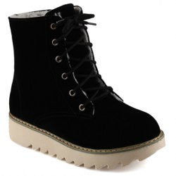 Stylish Platform and Flock Design Women's Short Boots
